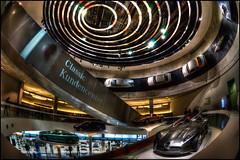 Mercedes-Benz Museum (Explore) (Kemoauc) Tags: auto building classic car museum architecture photoshop germany deutschland mercedes nikon stuttgart structure fisheye mercedesbenz hdr daimler topaz wrttemberg d90 photomatix nikond90 hdrterrorist kemoauc
