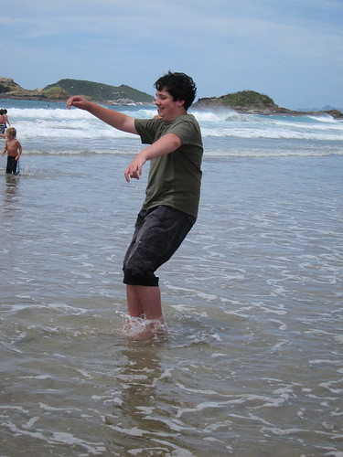 David endeavouring not to end up on his bum in the water
