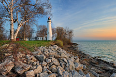 Point Aux Barques Lighthouse - Port Hope , Michigan (Michigan Nut) Tags: usa clouds sunrise geotagged photo vines rocks greatlakes lakehuron birchtree michiganlighthouses huroncounty pointeauxbarqueslighthouse pointauxbarqueslighthouse nikon1635mmf4gedafsvrwideanglezoomlens
