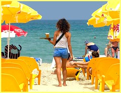 A few views on the Tel Aviv coast (jackfre2) Tags: blue sea people beach girl israel telaviv pretty bluesky swimmer waitress curlyhair parasols emeraldblue mygearandme ringexcellence