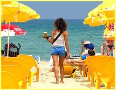 A few views on the Tel Aviv coast (jackfre2) Tags: blue sea people beach girl israel telaviv pretty bluesky swimmer waitress curlyhair parasols emeraldblue mygearandme ringexcellence