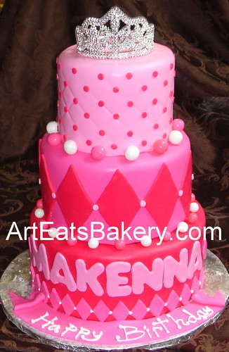 Three Tier Hot And Soft Pink Fondant Girl S Princess