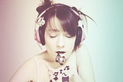 music overdose (enjoythelittlethings) Tags: music inspiration girl canon cool faded buns headphones 365 conceptual sick puke musicnotes iliketheidea mfimc facecanvas