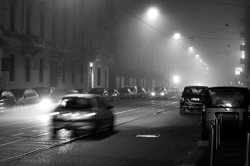 Foggy Night in Milan, Italy