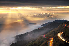 (Explored) () Tags: light sunset fog clouds track day taiwan