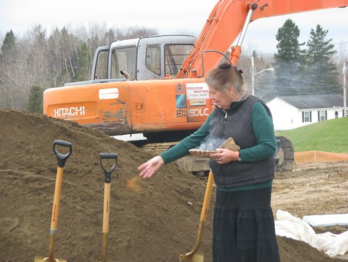 Houlton Band of Maliseet Indians Tribal Member Dayna Boyce  performs a sacred blessing over the Maliseet tribal land. This is the site of the Tribes future  Health Center.