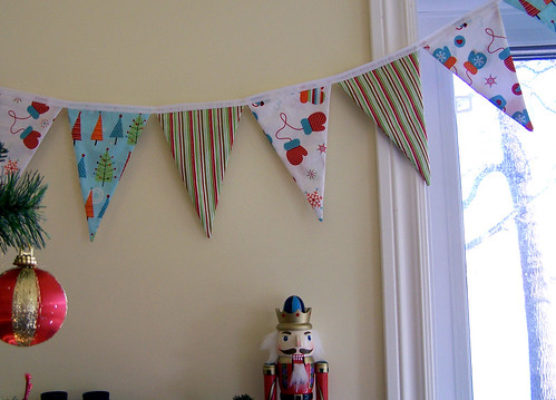 Christmas Fabric Bunting with Vintage Ornament and Nutcracker