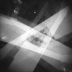 Deconstructing Barcode (Son of Lumiere) Tags: blue sunset abstract color film oslo architecture experiment ilfordhp5 barcode spatial analogue exploration alternative holga120s multiexposure autaut nikoncoolscan9000ed deconstructions