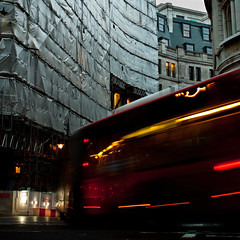 . (lazy_lazy_dog) Tags: street city uk windows roof england bus london digital canon buildings lights movement scaffolding traffic foil streetphotography reflective centrallondon candidphotography artphotography conceptualphotography colorphotoaward