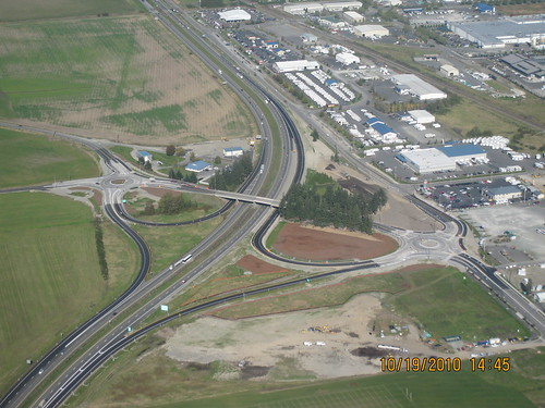 Aerial of I-5/SR 11 interchange in Burlington