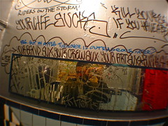 Everything Sux (Wires In The Walls) Tags: nyc etched selfportrait reflection bar graffiti mirror manhattan tag appleturnover motorcity