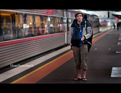 Alexander. Traveller. (Andy. H) Tags: travel portrait station train haze nikon cross bokeh streetphotography 85mm streetportrait railway australia melbourne tourist traveller southern destination alexander f18 backpacker gemany d90 hoechsterbach
