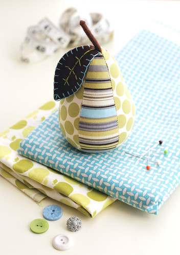 Stripes and Dots Pear Pincushion