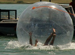 action (miradel) Tags: orange water ball georgia fun hands funny legs action joy caucasus rest tbilisi sakartvelo kula zorbing zorb kaukasus sphereing orbing globeriding sferyczna