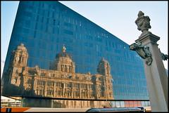 The Port of Liverpool Building, On Reflection (tatrakoda) Tags: city uk england urban reflection building film architecture liverpool 35mm nikon kodak briggs f5 pierhead grade2 listed hobbs ebb merseyside wolstenholme ektar thornley portofliverpool kodakektar 10millionphotos dockoffice ektar100