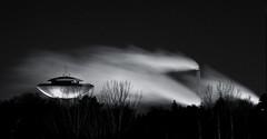 Haukilahti Water Tower II (Kimmo J) Tags: longexposure chimney blackandwhite bw night canon espoo finland dark smoke watertower grayscale canon70200f4l slowshutterspeed smokepipe haukilahti canonef70200mmf4lisusm