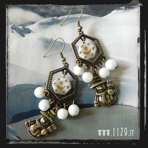 LNPUNE orecchini bronzo pupazzo neve bronze snow earrings