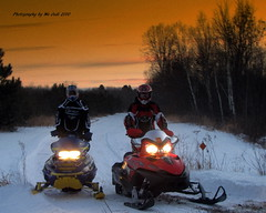Winter Ride (**Ms Judi**) Tags: trees winter light sunset sky snow cold colors wisconsin fun lights evening midwest sundown action path headlights twlight winterscene winterride msjudi peshtigowisconsin judistevenson judippc photographybymsjudi