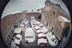 Udine. Natale 2010 From Above. (pierofix) Tags: above christmas city italy tree tower castle clock church wheel digital canon circle lens fun eos funny italia torre pov centre digitale centro wide wideangle ferris super fisheye chiesa panoramica duomo albero natale alto orologio castello grandangolo 45mm circular divertente cerchio 2010 citt friuli ruota palla udine mercatino tonda reducer focale 025x 400d riduttore richarm