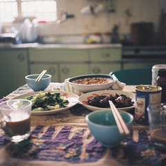 Lunch (in your kitchen) (Fabienne Lin) Tags: life 120 6x6 film kitchen rolleiflex lunch yummy kodak chinesefood daily 160vc