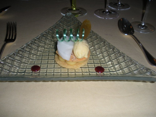 Lemon on a Brittany shortbread, lemon tart, toasted almond crisp and accompanying sorbet