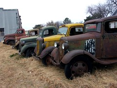 Rusty old trucks (dave_7) Tags: old ford 1948 chevrolet truck 1936 rust rusty trucks studebaker 1947 1935 mseries