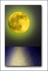 When the Moon was Young (Cliff Michaels) Tags: blue light sea moon colors yellow photoshop d50 nikon fantasy saturation 70300mm capturenx