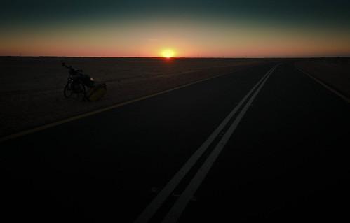Sudan sunset on the road