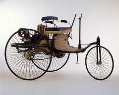 Gottlieb Daimler 1886 three-wheel motorized carriage (Evelyn Kanter) Tags: firstcar 1886 gottliebdaimler horselesscarriage