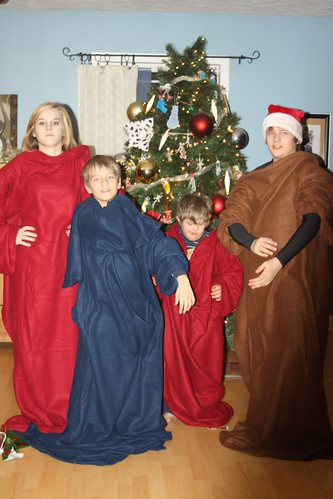We got Snuggies for Christmas. Gee, thanks, Mom.