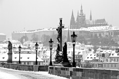 Calvary and Prague Castle / Kalvrie a Prask hrad (Jirka Chomat) Tags: city morning bridge mist castle river czech prague prag charles praha praskhrad most czechrepublic silueta charlesbridge bohemia vltava hrad calvary kostel karlvmost msto malstrana eka socha mlha svtn rno ernobl kalvrie