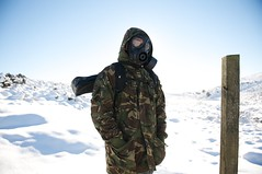 It's the End of The World as we know it. (Elliswg) Tags: world winter snow cold hoodie woods mask explorer apocalypse gas camo arctic end teenager gasmask dartmoor wistmans 5belowfreezing
