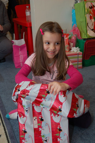 Christmas Eve:  Lauren opening presents.
