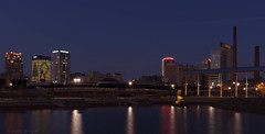 the magic city (blue hour) (natedregerphoto) Tags: park water night buildings reflections iso100 birmingham nikon cityscape alabama christmastree christmaslights bluehour 24mm lightroom d90 railroadpark 35mmequiv 0mmf0