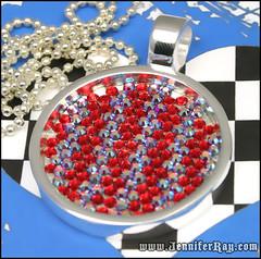 Red & AB Red Strips - Diamond Swarovski Pendant (JenniferRay.com) Tags: red necklace handmade ab jewelry swarovski etsy siam pendant auroraborealis artfire ballchain diamondpattern jenniferray flatbacks