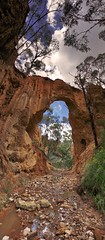 Golden Gully Arch - Hill End (rhyspope) Tags: new blue red sky panorama cloud white flower reflection tree green water grass yellow wales creek photoshop canon landscape gold high rocks mine arch dynamic stitch pano south hill central australia carving historic soil nsw end newsouthwales outback aussie range hdr hillend 500d rhyspope