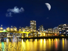 Cambie Street bridge .. Vancouver BC (ZedZap Photos) Tags: city travel bridge vacation moon holiday canada blur tourism silhouette skyline vancouver landscape bay harbor bc harbour balcony canadian vancouverisland yaletown pacificnorthwest bluehour victoriabc nationalgeographic innerharbour cambiestreet slowexposure slihouette beautifulbc zedzap