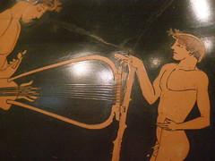 Attributed to the Berlin Painter, Youth playing lyre and boy listening, Greek, Attic, red-figure, c 490-480 BC, detail 2 (DeBeer) Tags: nyc newyorkcity boy youth terracotta attic jug musicalinstrument met metropolitan metropolitanmuseum malenude lyre greekart greekpottery greekvase redfigure atticvase oinochoe antiquepainting greekpainting berlinpainter greekvasepainting redfigurepainting greekvessel redfigurevase musicinart youthplayinglyreandboylistening youthplayinglyre terracottaoinochoe atticpainting