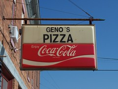 OH West Mansfield - Geno's Pizza (scottamus) Tags: old ohio sign vintage soft cola drink coke pop plastic soda coca logancounty westmansfield genospizza