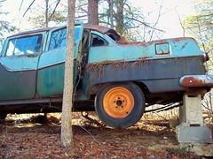 Car Jacked (One_Track) Tags: road old tree car rural woods ruins scenery decay creepy abandon pontiac oldpontiac 1955pontiac