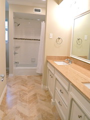 The Flip: The Bathrooms, Then & Now (It's Great To Be Home) Tags: glass jack bathroom shower jill traditional vanity n crisp flip marble travertine danbury neutral mosaictile subwaytile flippinghouses chevronpattern handcuttile
