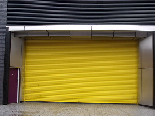 Yellow shutter and purple door - Commercial Street