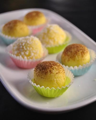 Ricotta, coconut and saffron balls