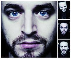 Expressions... (.: eStiA :.) Tags: blue portrait man paris men coffee female vintage eyes women phone femme retro montage baxter homme estia