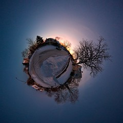 It's a cold world out there ~ Explored (edwardhorsford) Tags: road christmas winter sky panorama snow cold tree ice minnesota silhouette night stitch little minneapolis panoramic planet stitched zenith stiched stereographic hugin