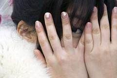 Peekaboo (Bracus Triticum) Tags: winter woman eye girl face japan hand no peekaboo january young 日本 hi fukuoka kyushu seijin 九州 iizuka 1月 mutsuki 2011 飯塚市 福岡県 comingofageday 成人の日 一月 睦月 筑豊 chikuhō むつき いちがつ affectionmonth 平成23年 gettyimagesjapanq1