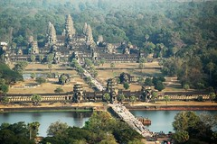 Aerial Shot of Angkor Wat (Crumblin Down) Tags: vacation holiday hot sunrise temple cambodia khmer view buddha buddhist air prayer religion pray balloon monk buddhism aerial spire helium siem reap thom angkor wat moat complex bayon tether