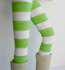 Blythe tights Lime green stripes