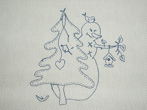 Snowman stitchery back