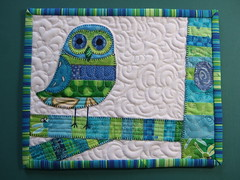 Finished owl mug rug front